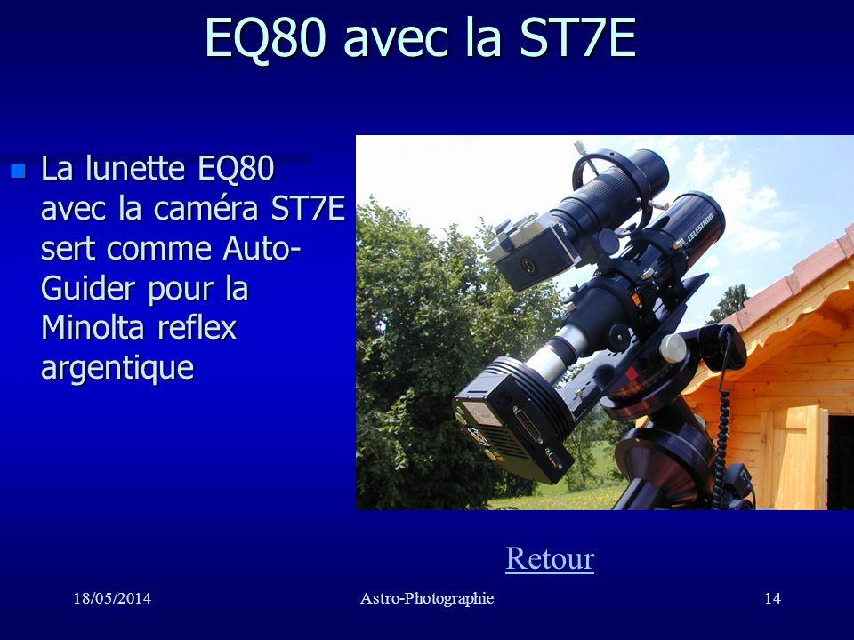 EQ80 avec la ST7E La lunette EQ80 avec la caméra ST7E sert comme Auto-Guider pour la Minolta reflex argentique.