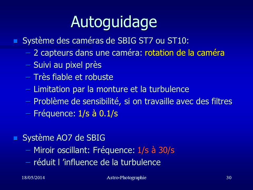 Autoguidage Système des caméras de SBIG ST7 ou ST10: