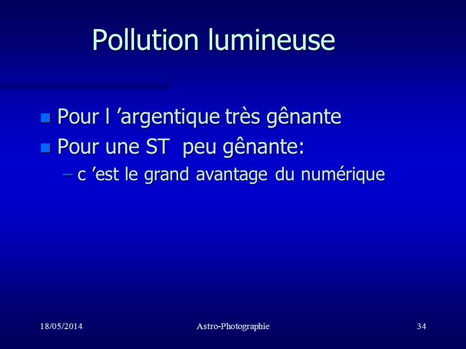 Pollution lumineuse Pour l 'argentique très gênante