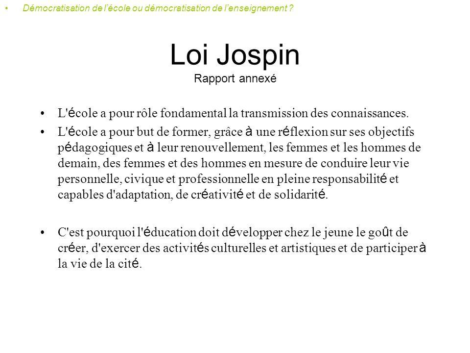 Loi Jospin Rapport annexé