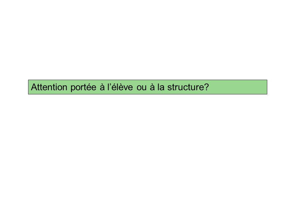 Attention portée à l'élève ou à la structure