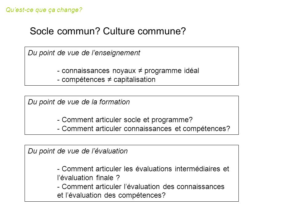 Socle commun Culture commune