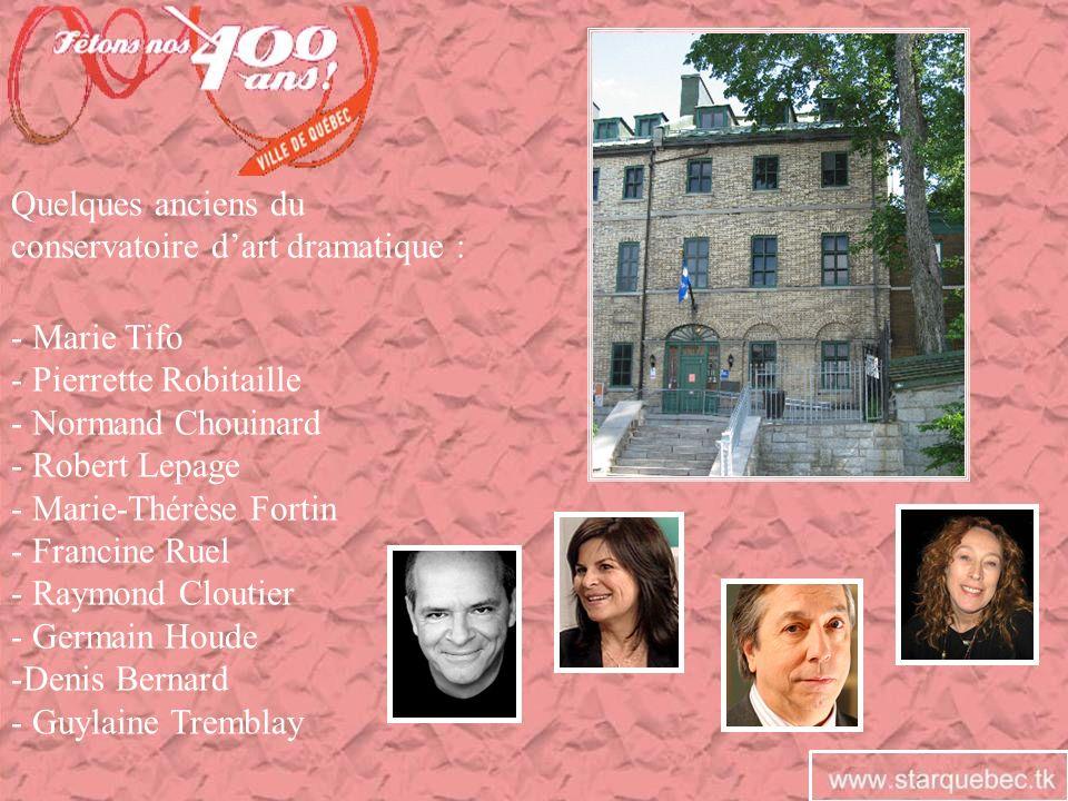 Quelques anciens du conservatoire d'art dramatique : - Marie Tifo. - Pierrette Robitaille. - Normand Chouinard.
