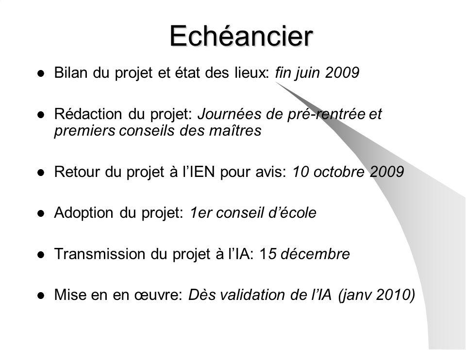 Echéancier Bilan du projet et état des lieux: fin juin 2009