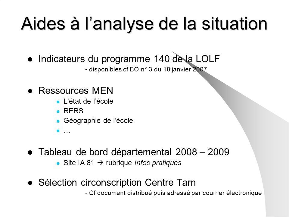 Aides à l'analyse de la situation