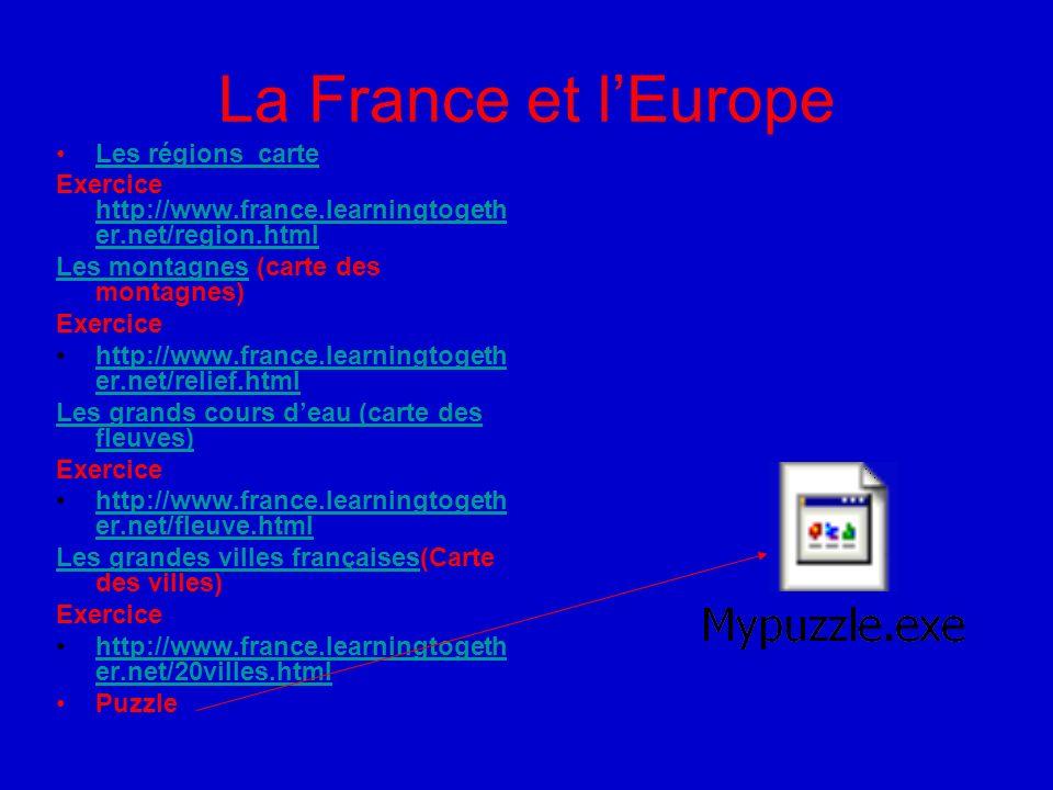 La France et l'Europe Les régions carte