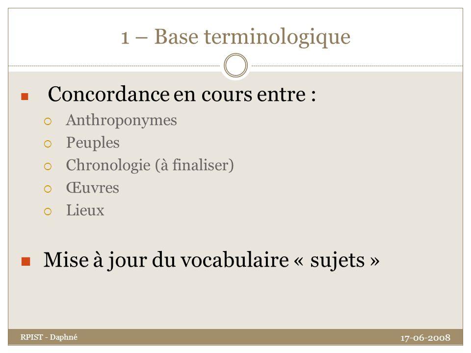 1 – Base terminologique Mise à jour du vocabulaire « sujets »