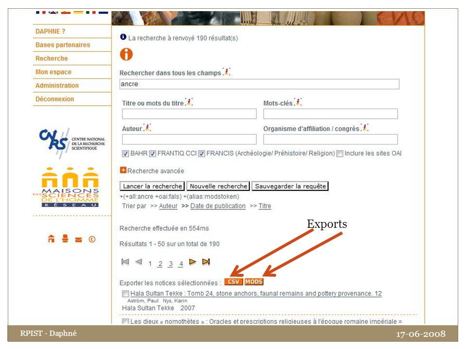 Exports RPIST - Daphné 17-06-2008