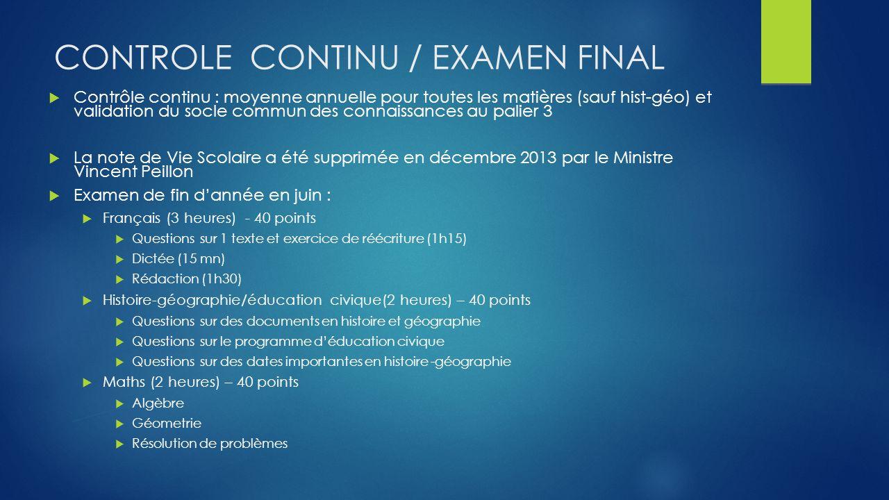 ContROLE CONTINU / EXAMEN FINAL