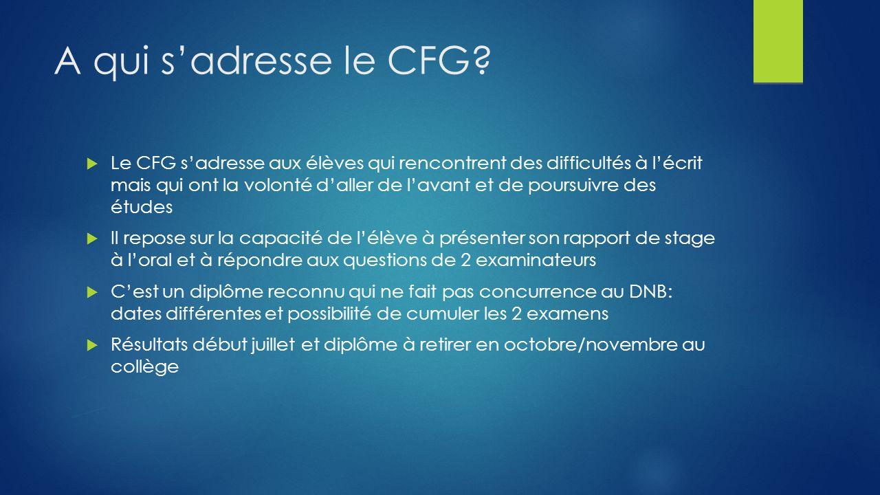 A qui s'adresse le CFG