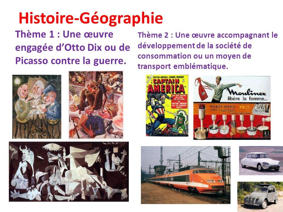 Histoire-Géographie Thème 1 : Une œuvre engagée d'Otto Dix ou de Picasso contre la guerre.