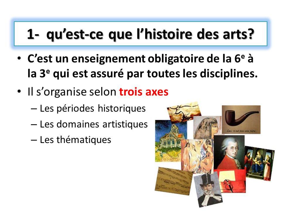 1- qu'est-ce que l'histoire des arts
