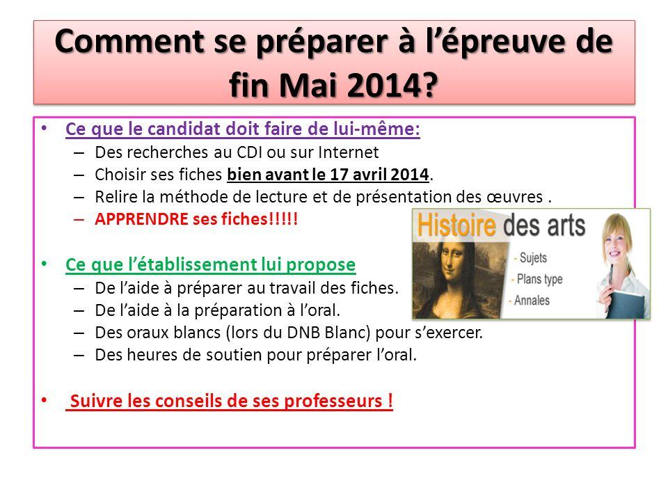 Comment se préparer à l'épreuve de fin Mai 2014