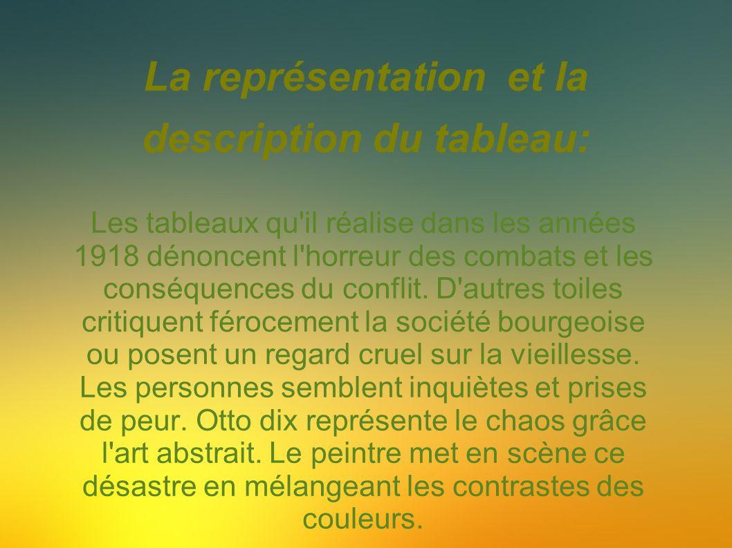 La représentation et la description du tableau: