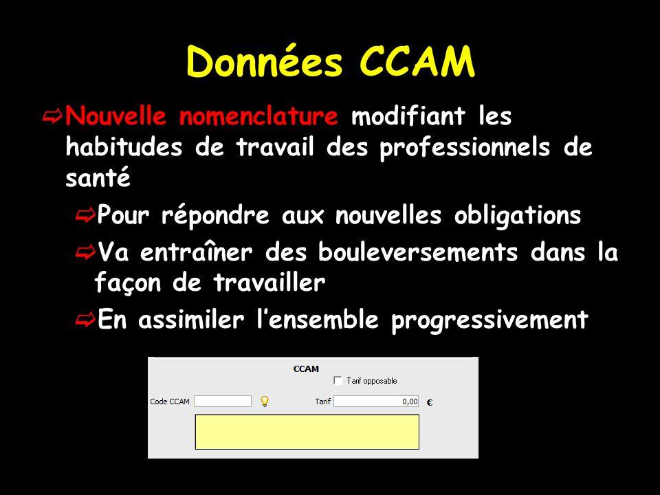 Données CCAM Nouvelle nomenclature modifiant les habitudes de travail des professionnels de santé. Pour répondre aux nouvelles obligations.