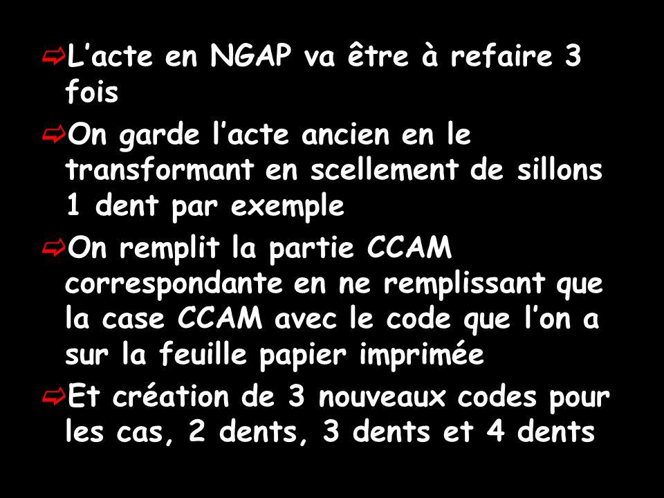 L'acte en NGAP va être à refaire 3 fois