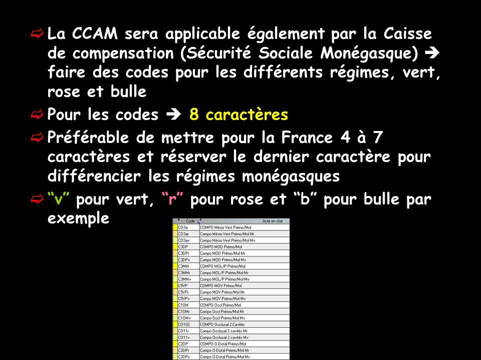 La CCAM sera applicable également par la Caisse de compensation (Sécurité Sociale Monégasque)  faire des codes pour les différents régimes, vert, rose et bulle