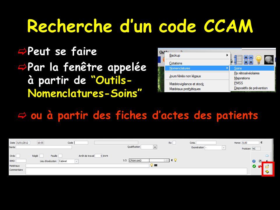 Recherche d'un code CCAM