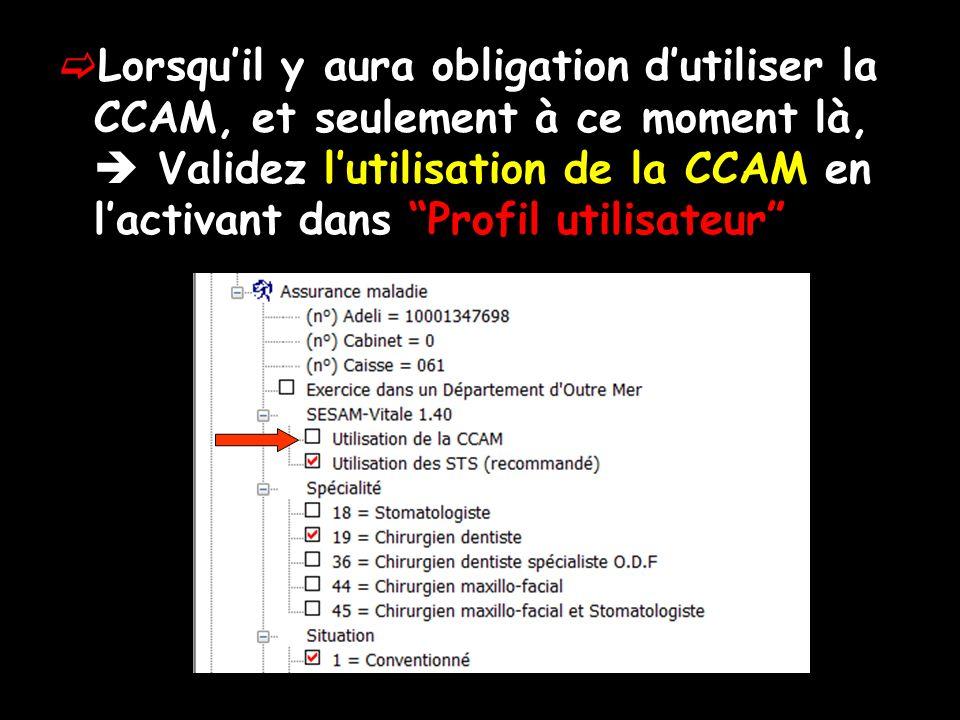 Lorsqu'il y aura obligation d'utiliser la CCAM, et seulement à ce moment là,  Validez l'utilisation de la CCAM en l'activant dans Profil utilisateur