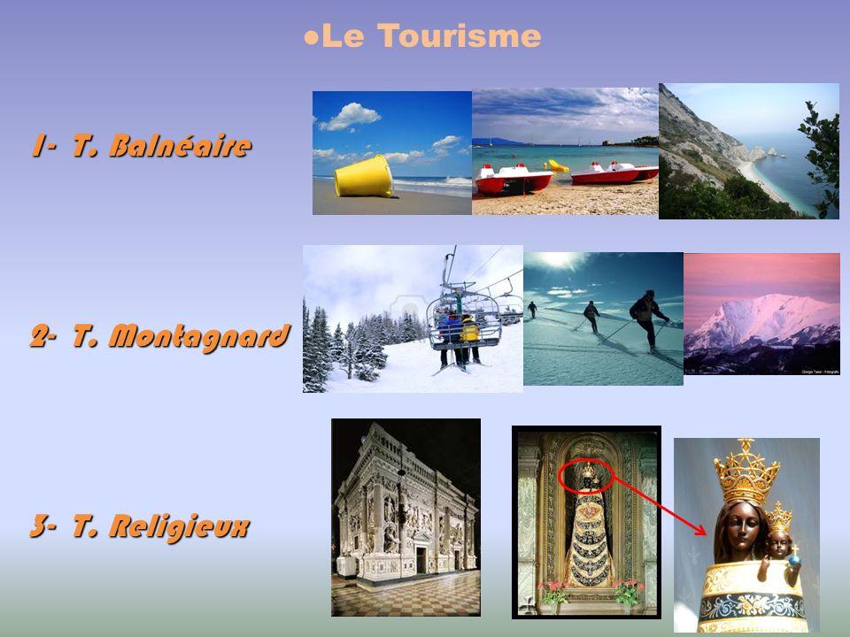 ●Le Tourisme 1- T. Balnéaire 2- T. Montagnard 3- T. Religieux