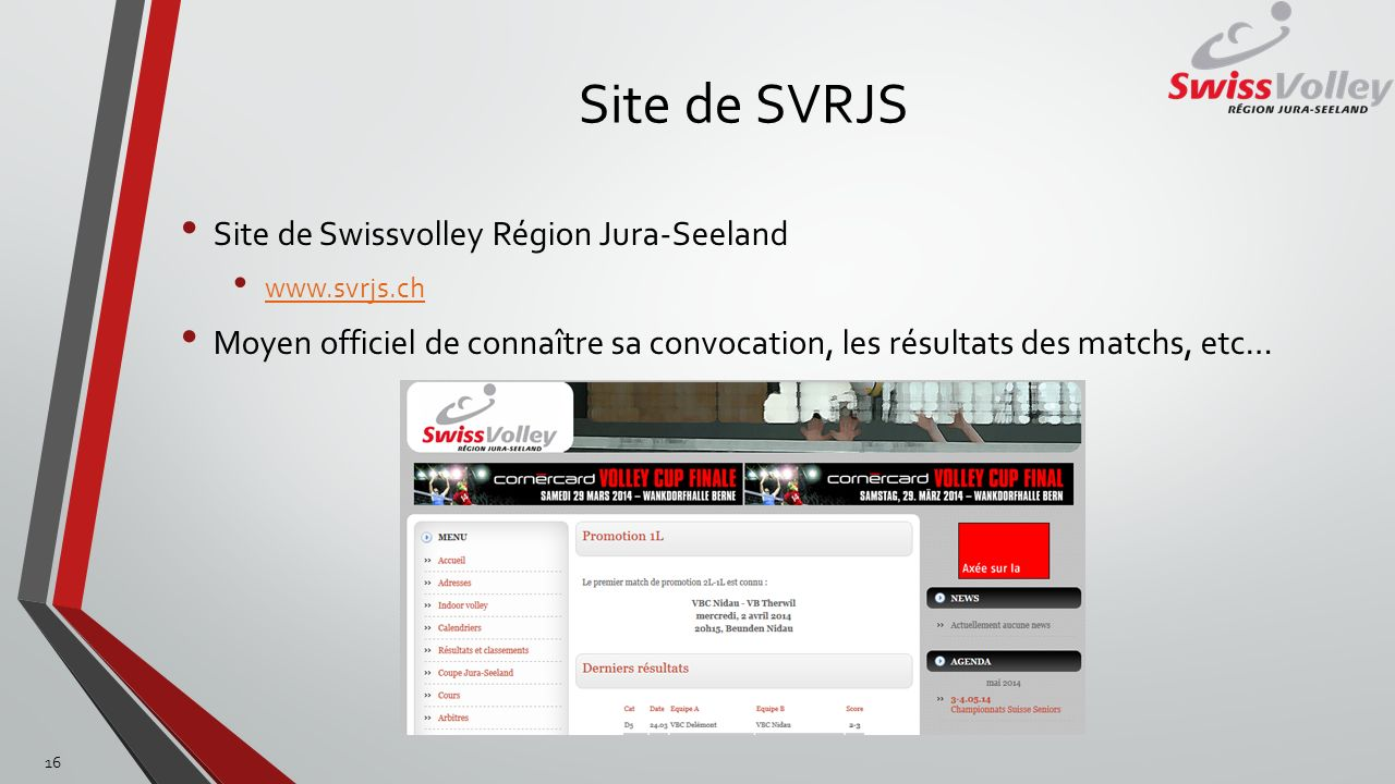 Site de SVRJS Site de Swissvolley Région Jura-Seeland