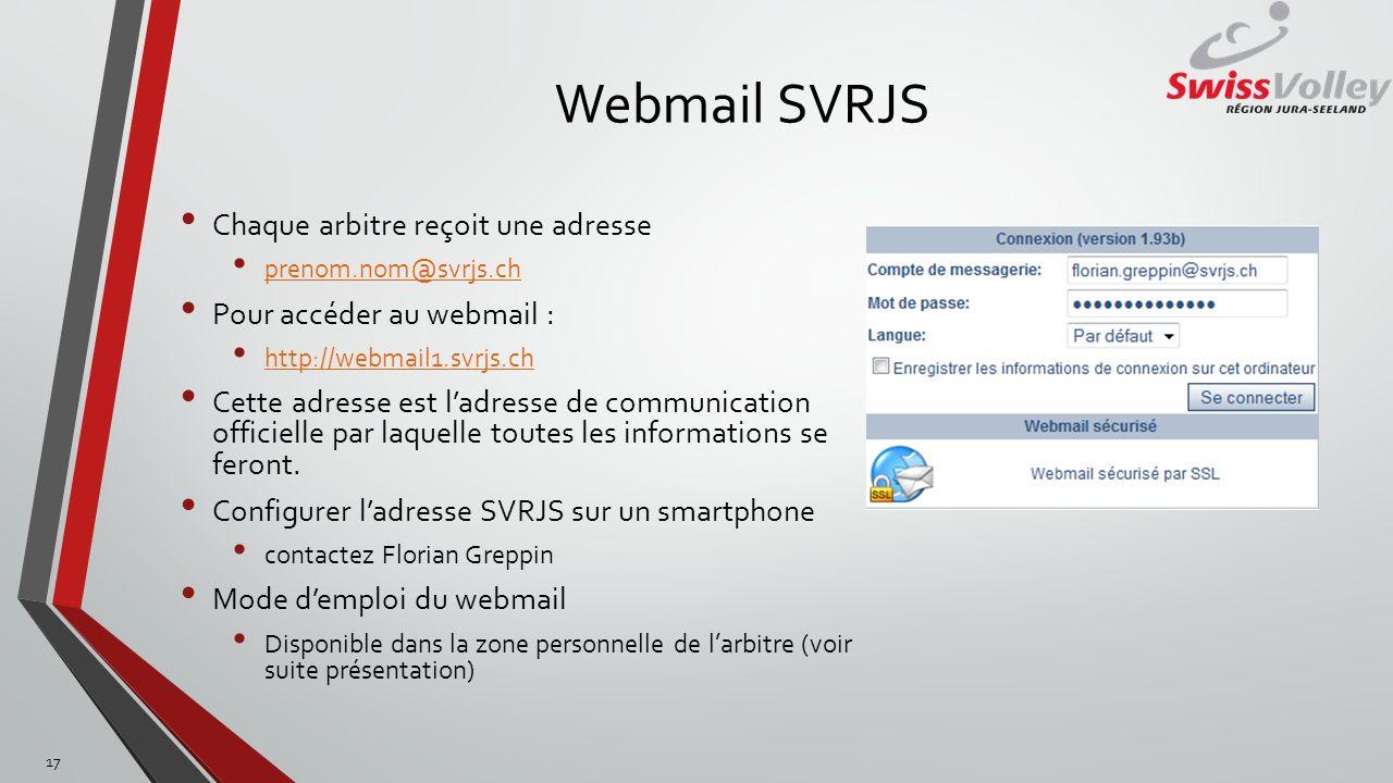 Webmail SVRJS Chaque arbitre reçoit une adresse