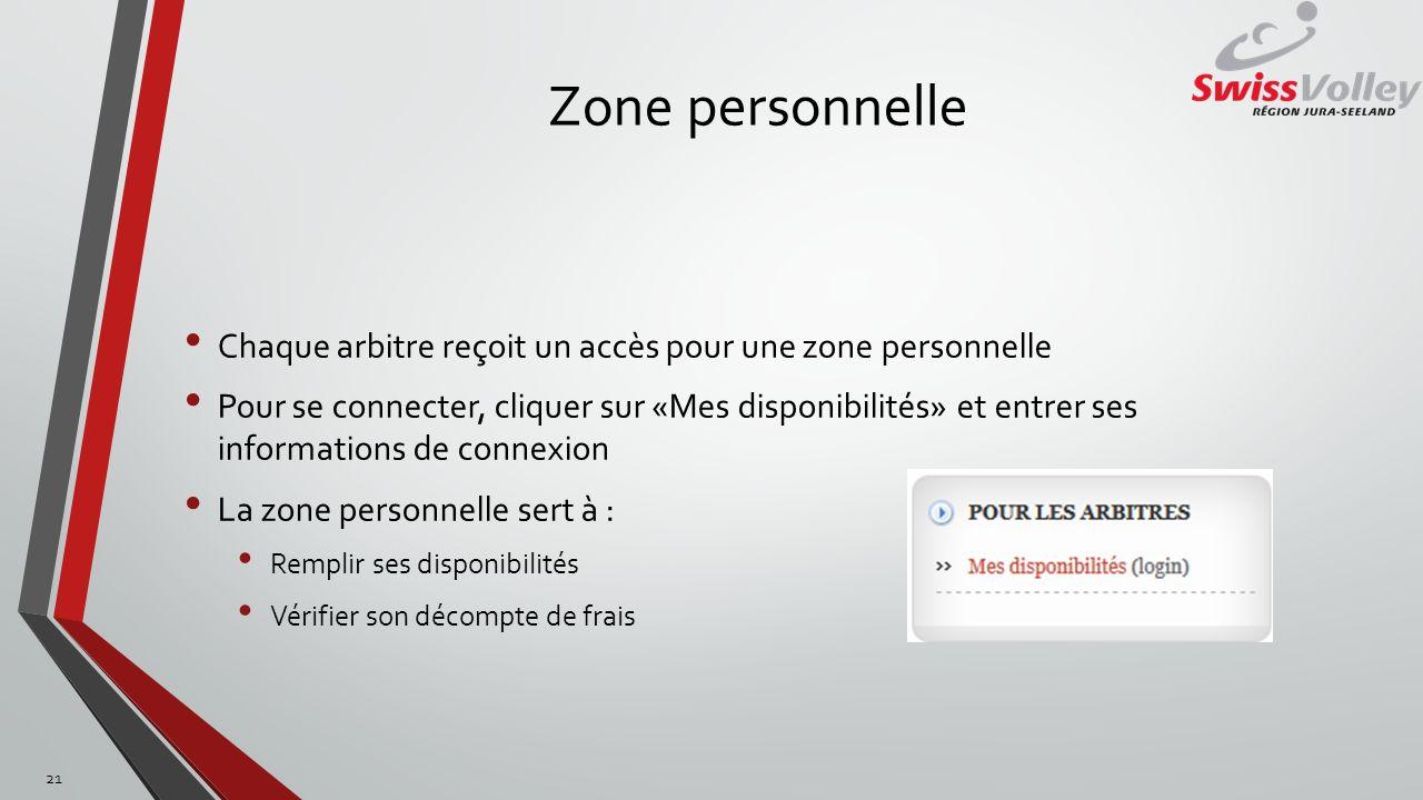 Zone personnelle Chaque arbitre reçoit un accès pour une zone personnelle.