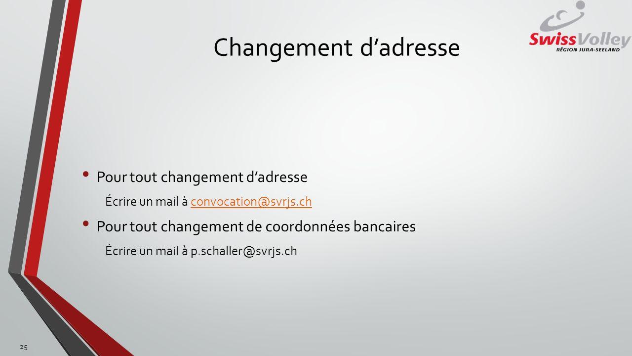 Changement d'adresse Pour tout changement d'adresse