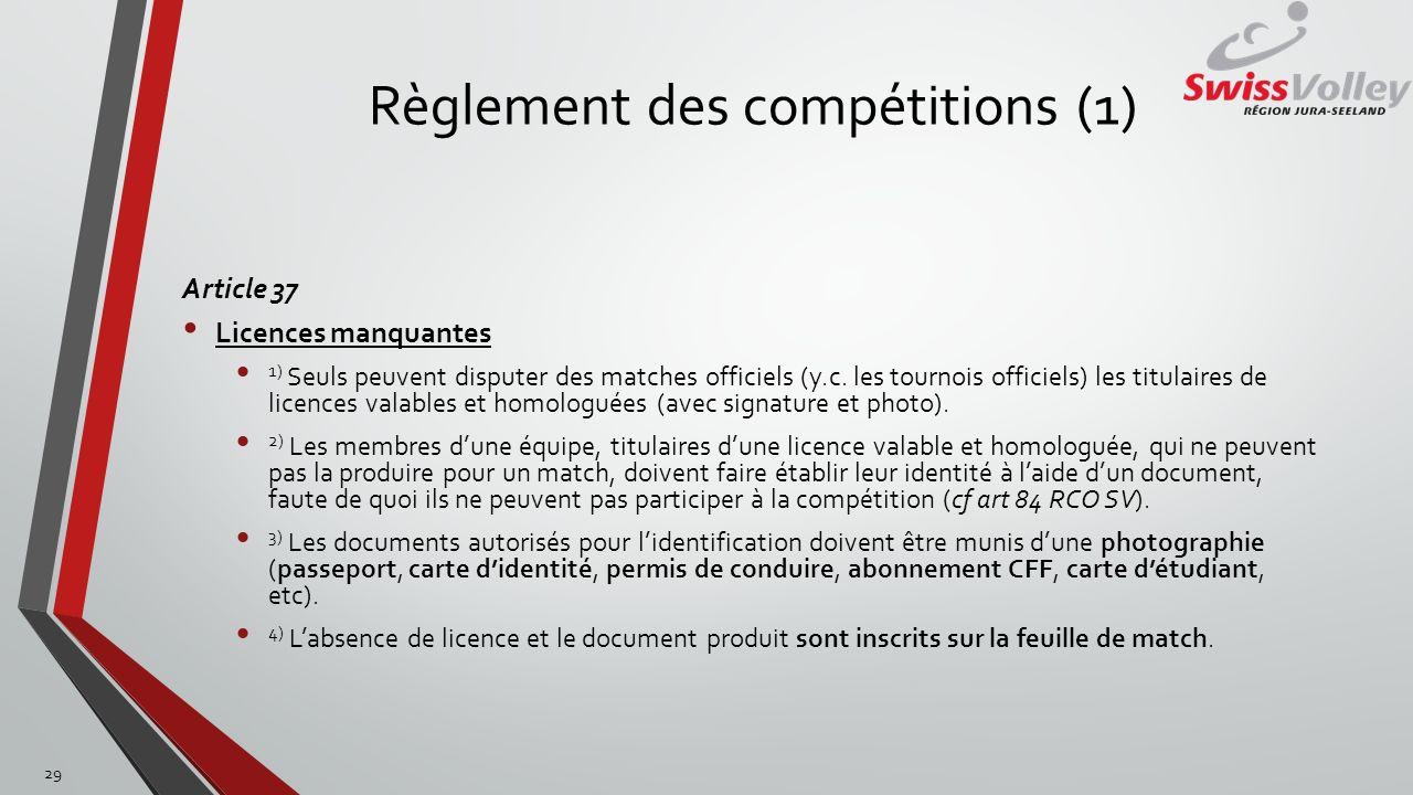 Règlement des compétitions (1)