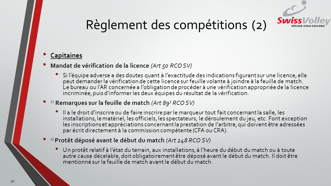 Règlement des compétitions (2)