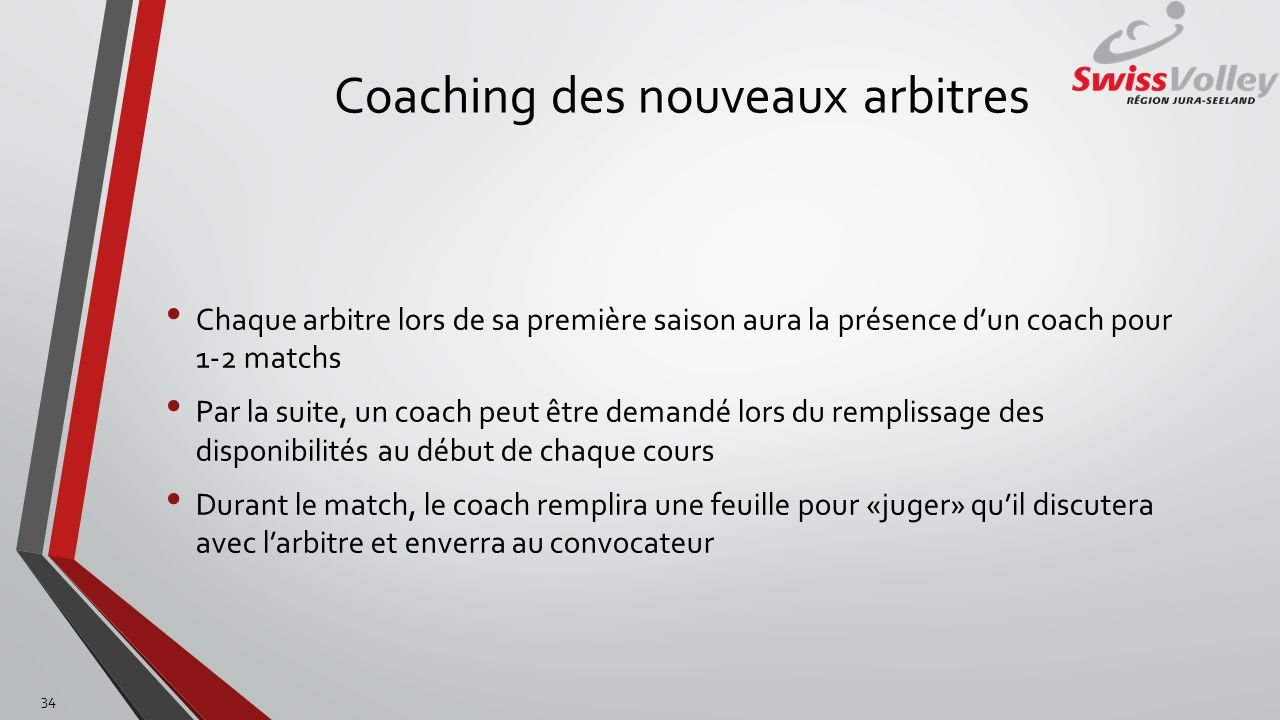 Coaching des nouveaux arbitres