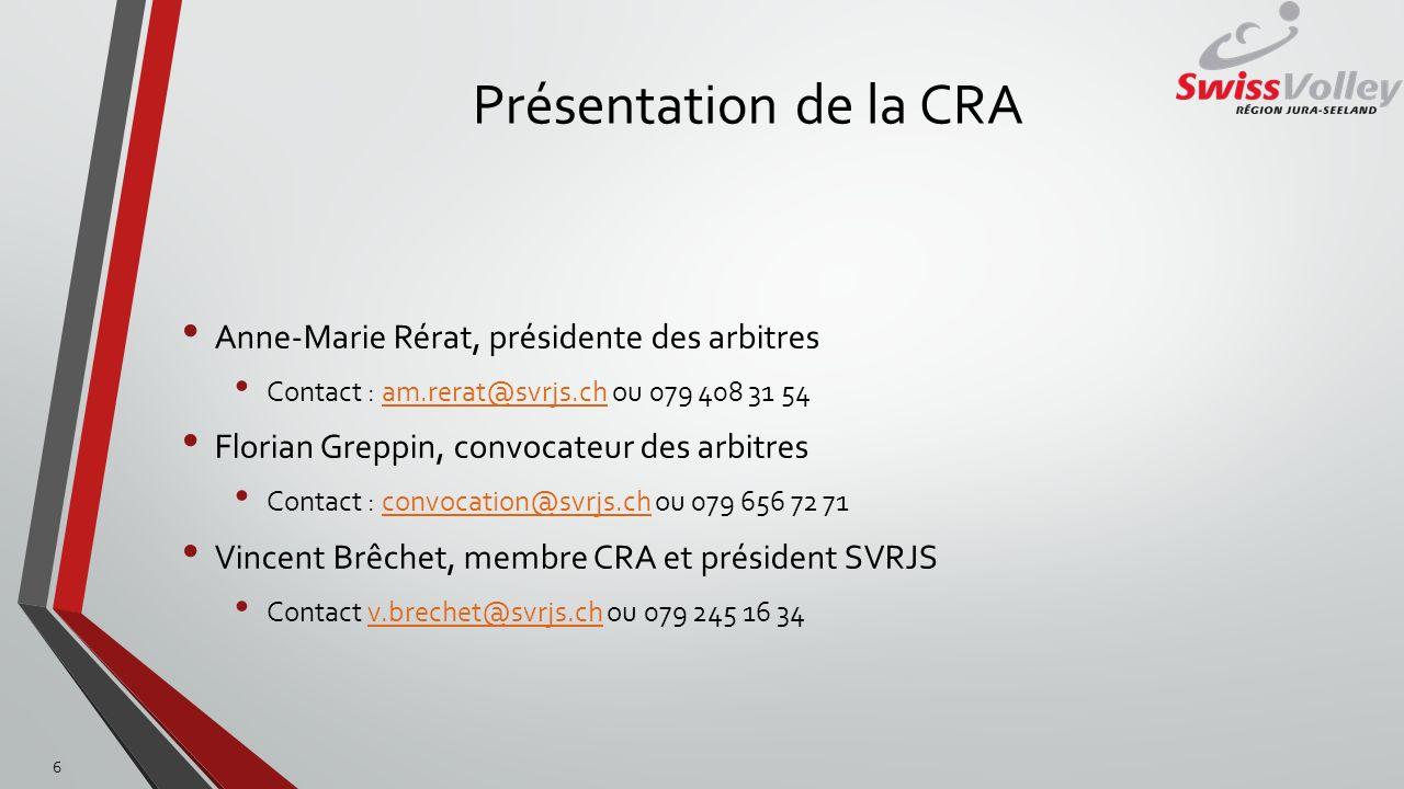 Présentation de la CRA Anne-Marie Rérat, présidente des arbitres