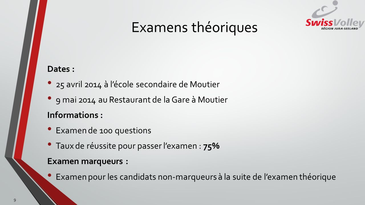 Examens théoriques Dates :