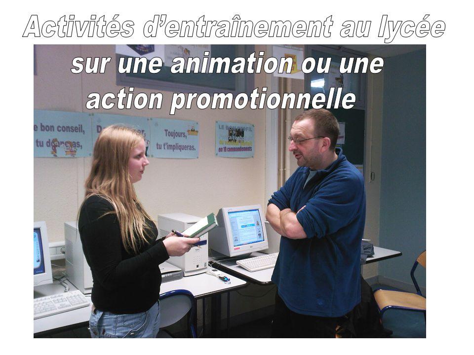 Activités d'entraînement au lycée sur une animation ou une
