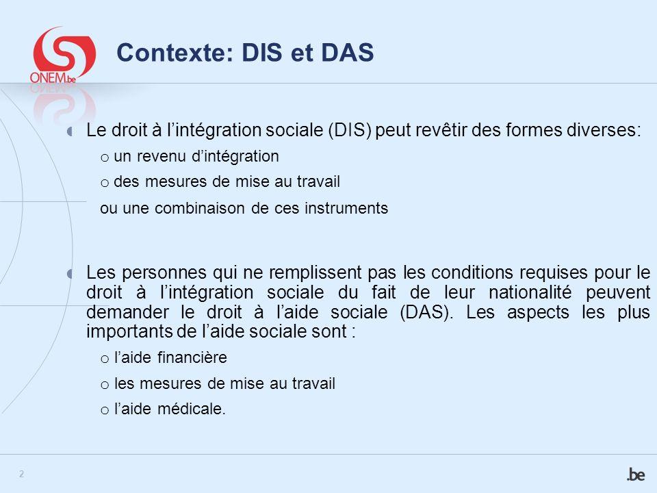 Contexte: DIS et DAS Le droit à l'intégration sociale (DIS) peut revêtir des formes diverses: o un revenu d'intégration.