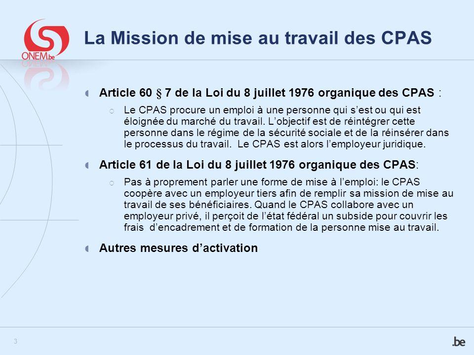 La Mission de mise au travail des CPAS