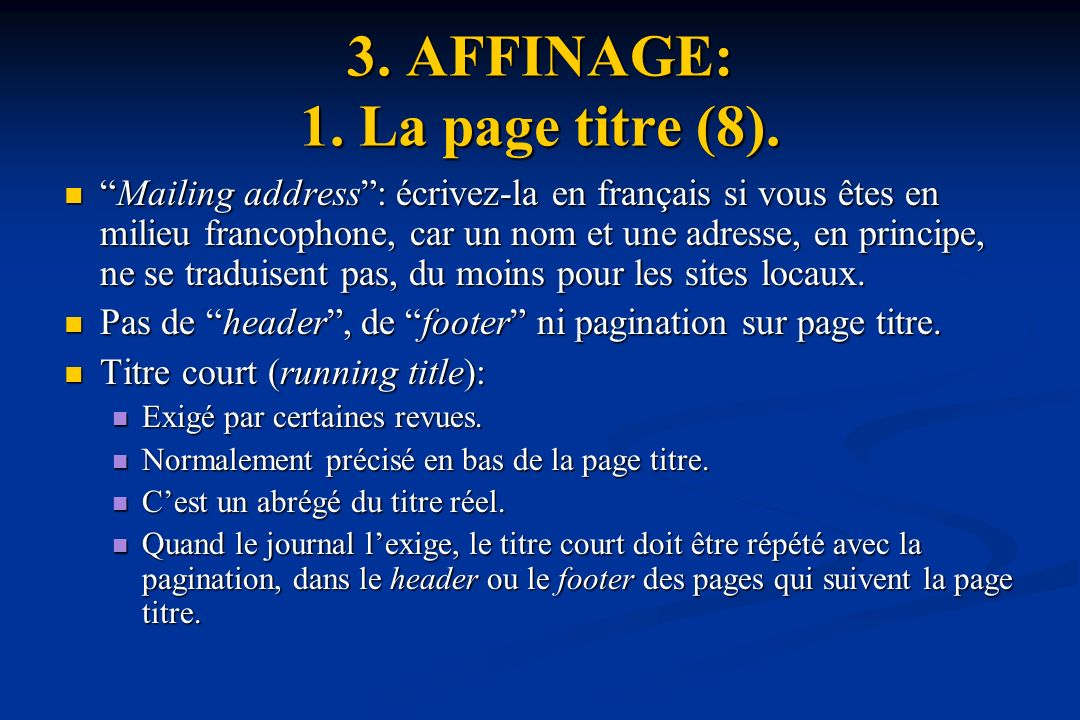 3. AFFINAGE: 1. La page titre (8).