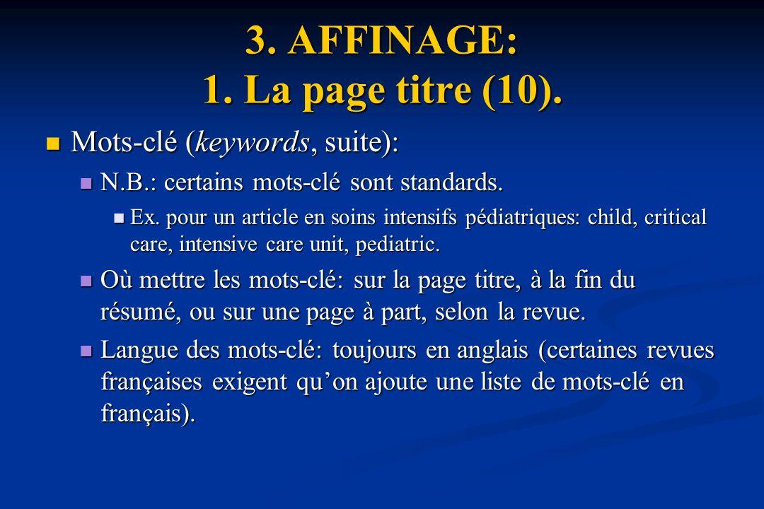 3. AFFINAGE: 1. La page titre (10).