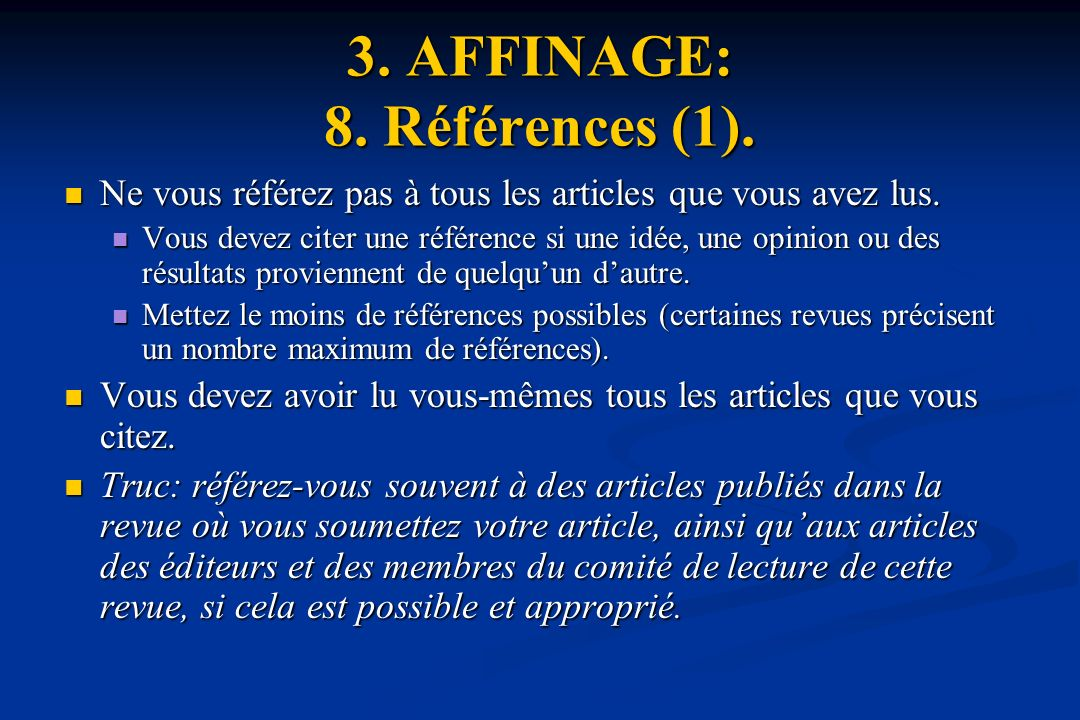 3. AFFINAGE: 8. Références (1).