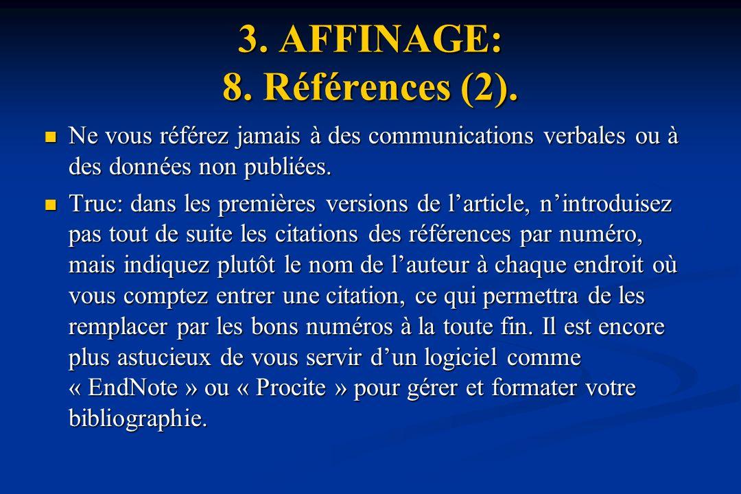 3. AFFINAGE: 8. Références (2).