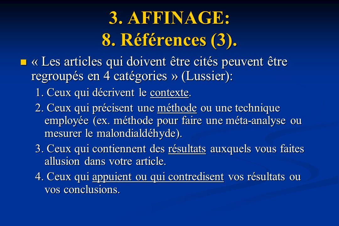 3. AFFINAGE: 8. Références (3).