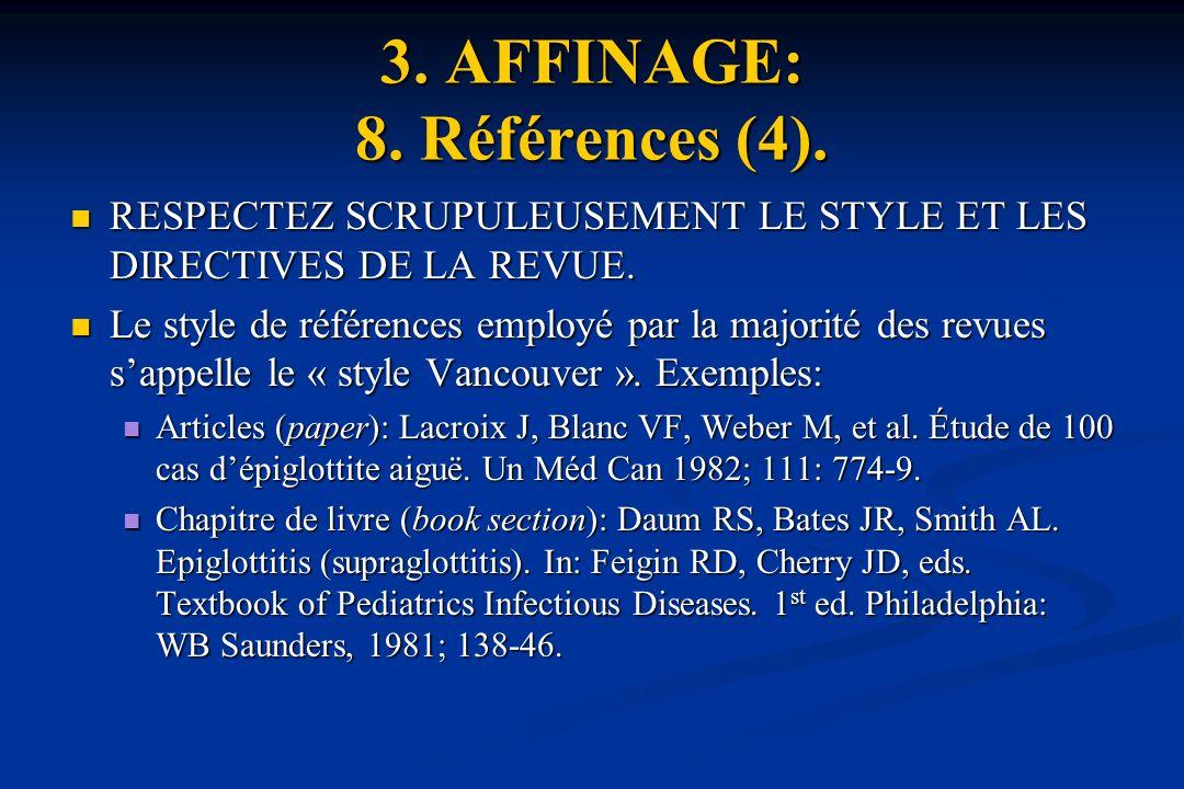 3. AFFINAGE: 8. Références (4).