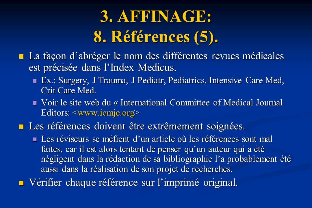 3. AFFINAGE: 8. Références (5).