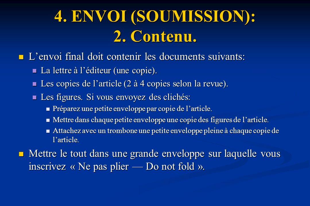 4. ENVOI (SOUMISSION): 2. Contenu.