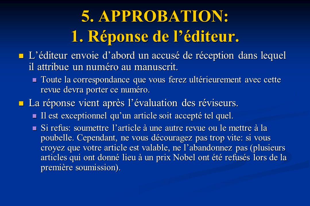 5. APPROBATION: 1. Réponse de l'éditeur.