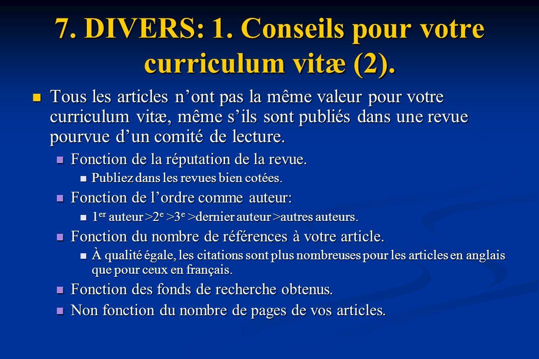 7. DIVERS: 1. Conseils pour votre curriculum vitæ (2).