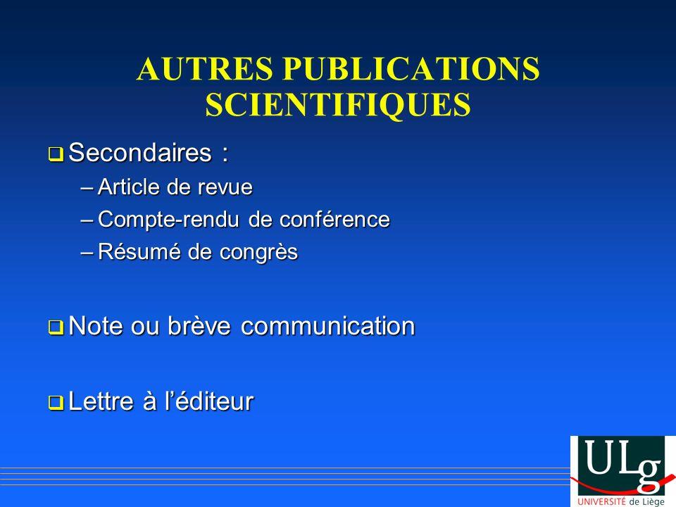 AUTRES PUBLICATIONS SCIENTIFIQUES