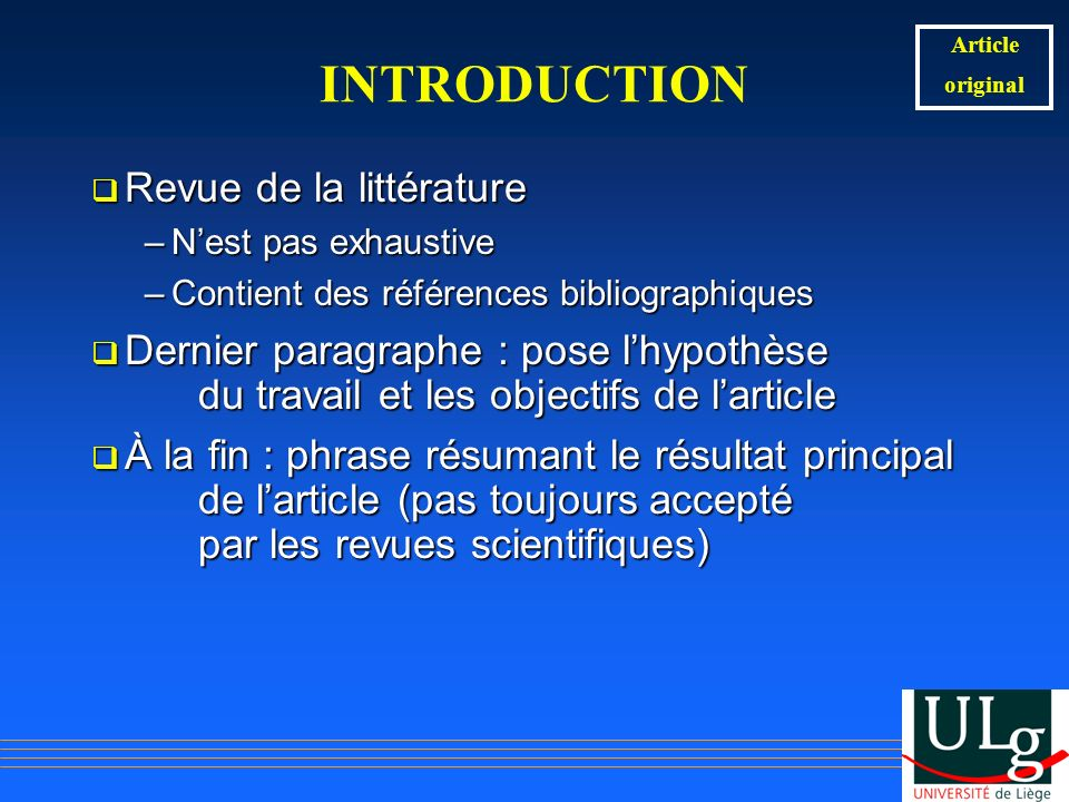 INTRODUCTION Revue de la littérature