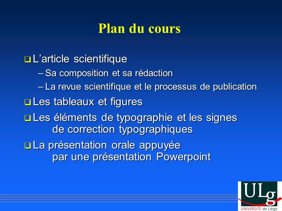 Plan du cours L'article scientifique Les tableaux et figures