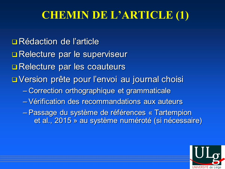 CHEMIN DE L'ARTICLE (1) Rédaction de l'article